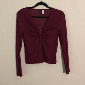 H&M burgundy long-sleeve fitted shirt